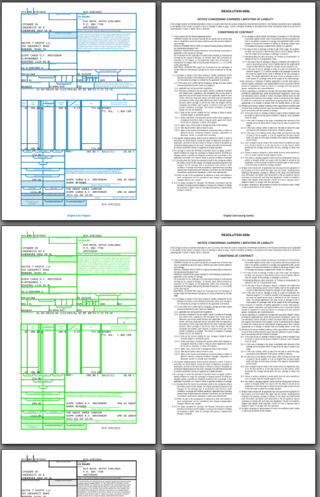 Airwaybill set in pdf