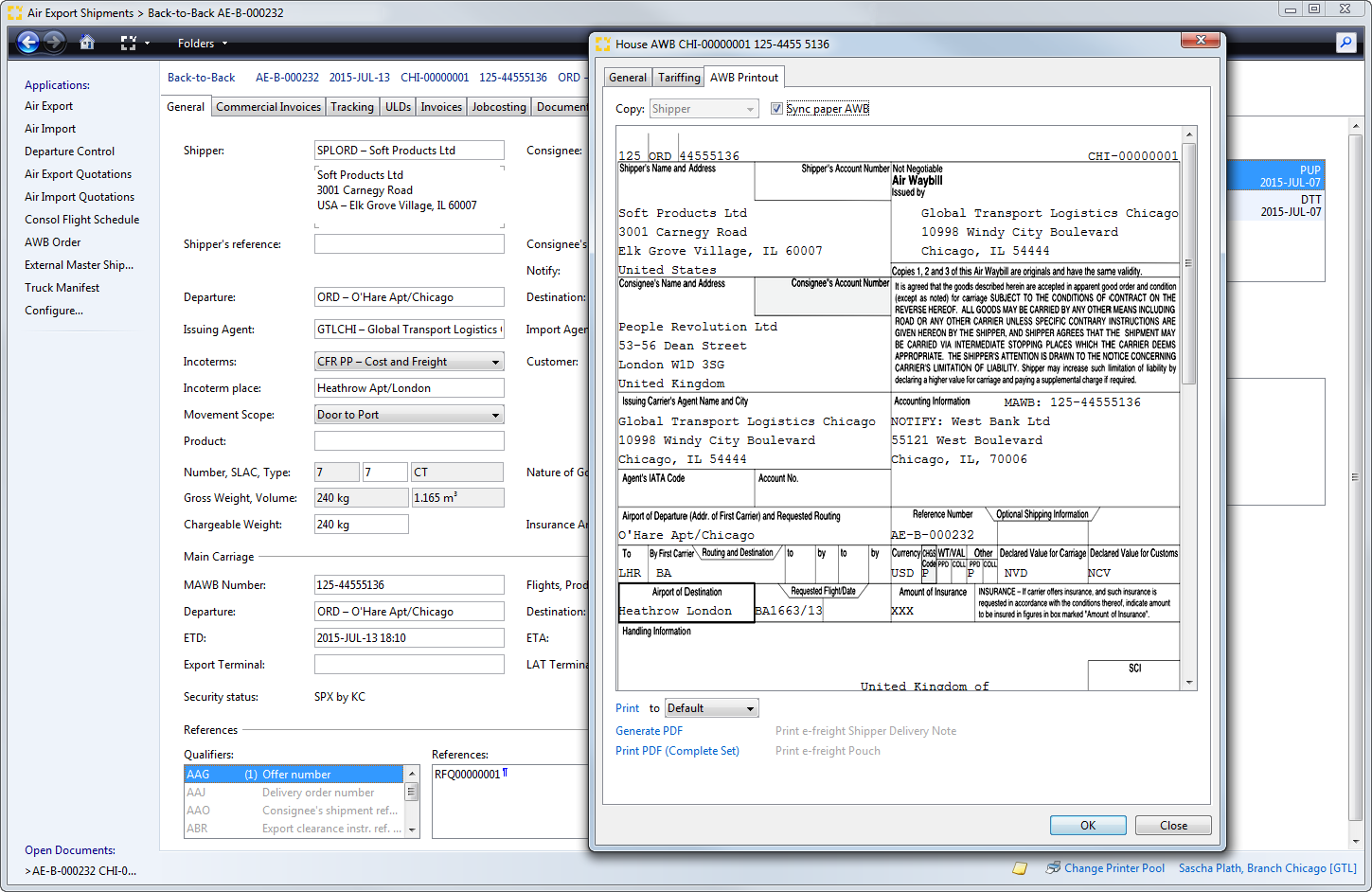 Integrated editor for House- and IATA-AWB.